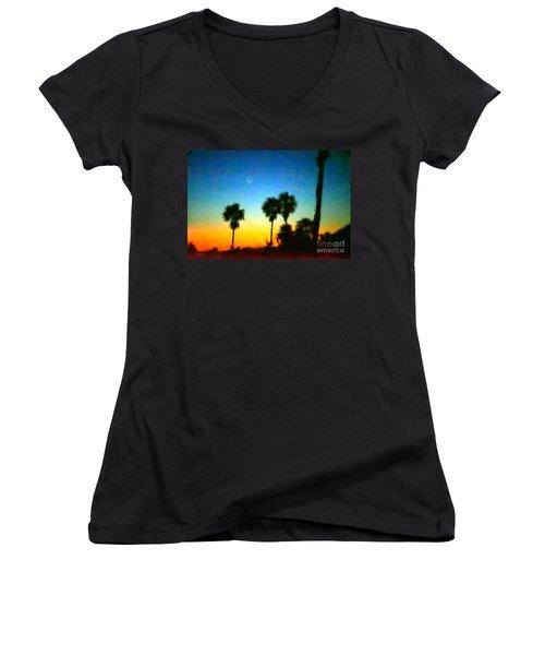Moon Jupiter Sunrise Women's V-Neck T-Shirt (Junior Cut)