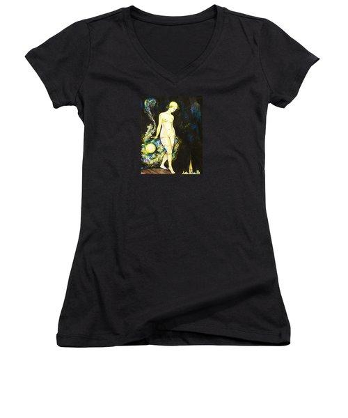 Women's V-Neck T-Shirt (Junior Cut) featuring the drawing Moon Light by Anna  Duyunova