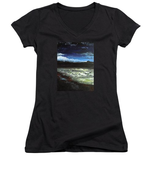 Women's V-Neck T-Shirt (Junior Cut) featuring the painting Moon Lit Sea by Dan Whittemore