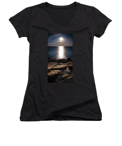 Moon Over Acadia Shores Women's V-Neck