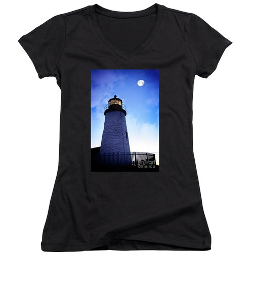 Moon Over Lighthouse Women's V-Neck