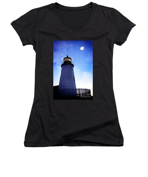 Moon Over Lighthouse Women's V-Neck
