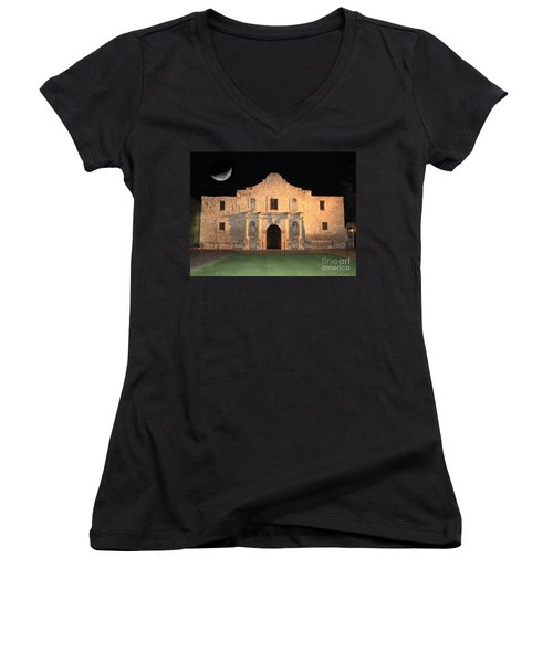 Moon Over The Alamo Women's V-Neck (Athletic Fit)