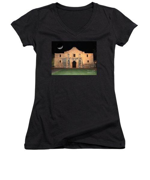 Moon Over The Alamo Women's V-Neck