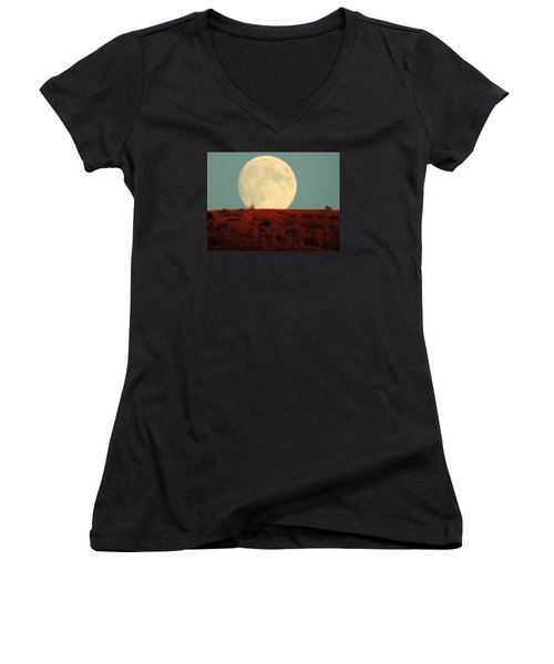 Moon Over Utah Women's V-Neck T-Shirt (Junior Cut) by Charlotte Schafer