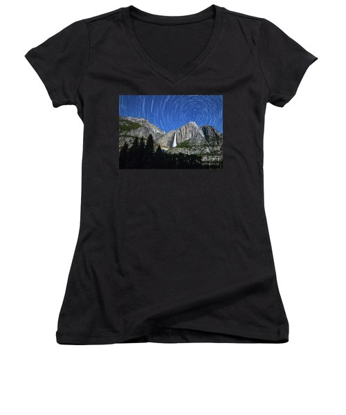 Moonbow And Startrails  Women's V-Neck (Athletic Fit)