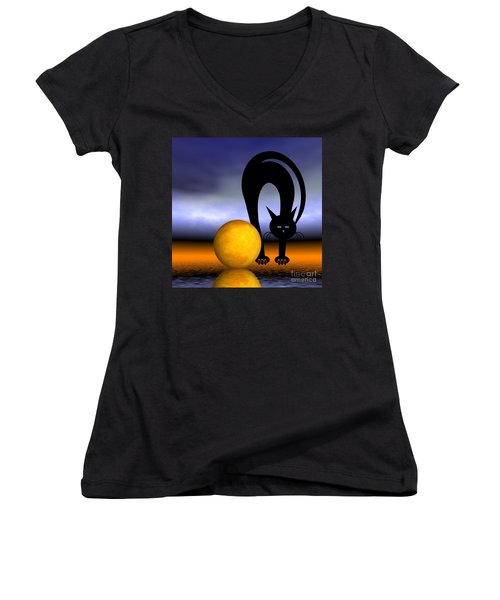 Mooncat's Play With The Fullmoon Women's V-Neck