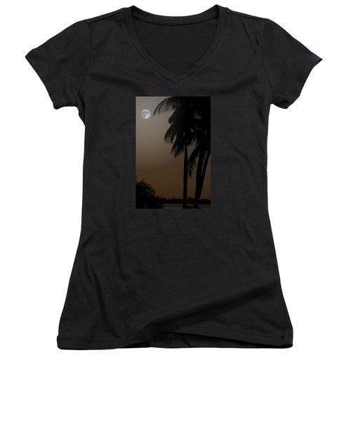 Women's V-Neck T-Shirt (Junior Cut) featuring the photograph Moonlight And Palms by Diane Merkle