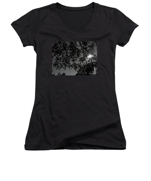 Women's V-Neck T-Shirt (Junior Cut) featuring the photograph Moonlight by Betty Northcutt