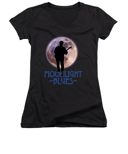 Moonlight Blues Shirt Women's V-Neck (Athletic Fit)