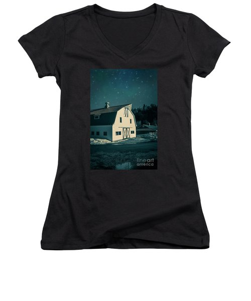 Women's V-Neck T-Shirt featuring the photograph Moonlight In Vermont by Edward Fielding
