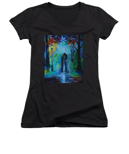 Moonlight Kiss Women's V-Neck T-Shirt (Junior Cut) by Leslie Allen