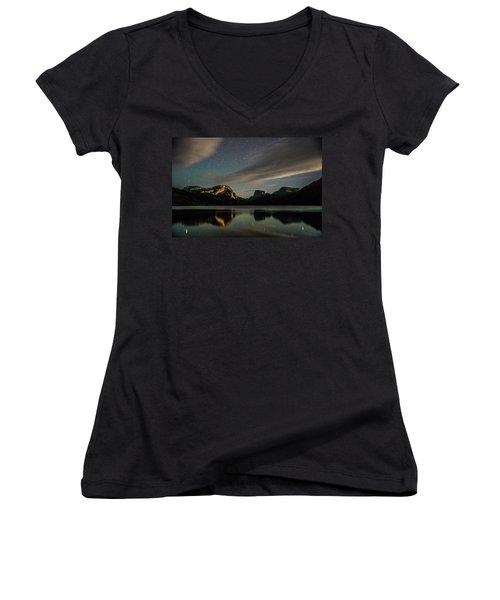 Moonlight On Green River Lake Women's V-Neck T-Shirt