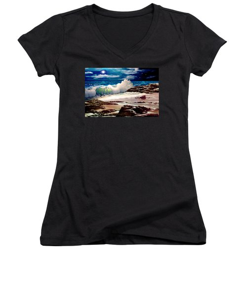 Moonlight On The Beach Women's V-Neck (Athletic Fit)