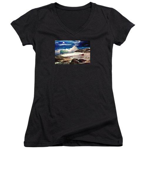 Moonlight On The Beach Women's V-Neck T-Shirt (Junior Cut) by Ron Chambers