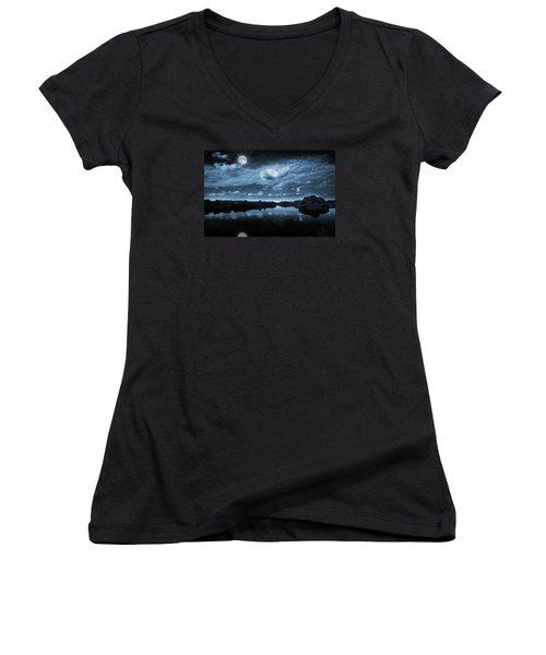 Women's V-Neck T-Shirt (Junior Cut) featuring the photograph Moonlight Over A Lake by Jaroslaw Grudzinski