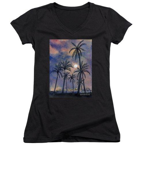 Moonlight Over Key West Women's V-Neck (Athletic Fit)