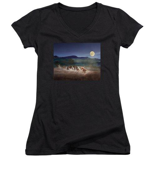 Moonlight Run Women's V-Neck T-Shirt