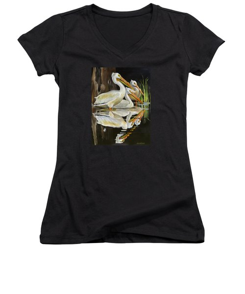 Women's V-Neck T-Shirt (Junior Cut) featuring the painting Moonlight Serenade by Phyllis Beiser