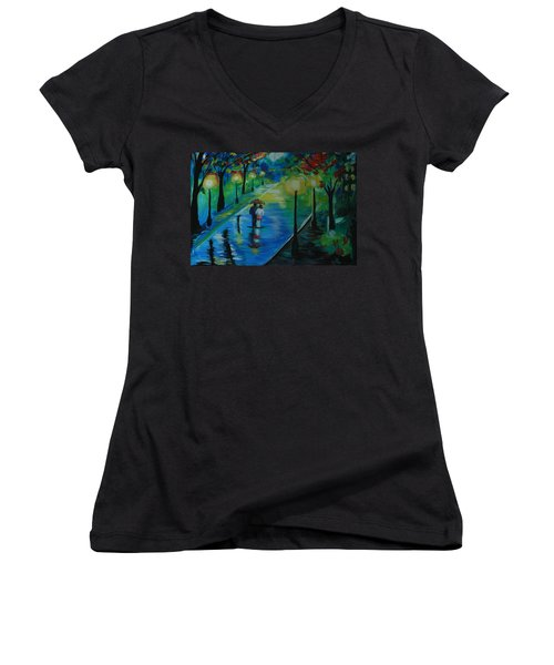 Moonlight Stroll Women's V-Neck T-Shirt (Junior Cut) by Leslie Allen