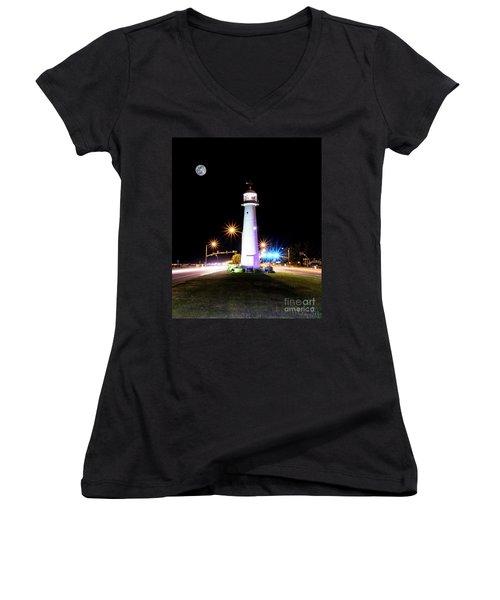 Moonlit Gulf Coast Lighthouse Seascape Biloxi Ms 4256b Women's V-Neck (Athletic Fit)