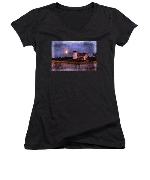 Moonlit Harbor Women's V-Neck T-Shirt (Junior Cut) by Patrice Zinck
