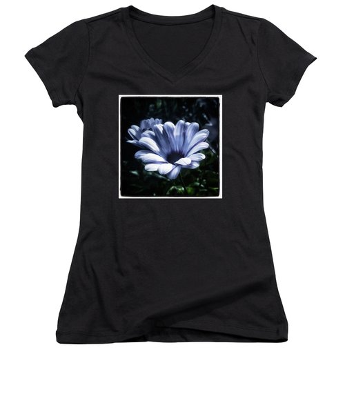 Women's V-Neck featuring the photograph Moonlit Petals. From The Beautiful by Mr Photojimsf