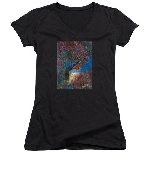 Moonlit Tree Women's V-Neck T-Shirt (Junior Cut) by Denise Hoag