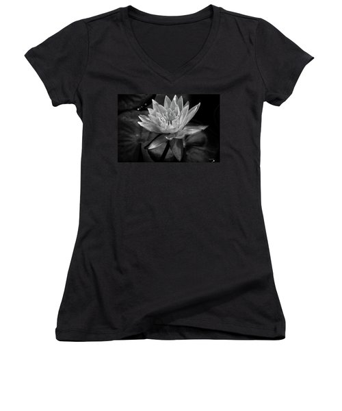 Moonlit Water Lily Bw Women's V-Neck