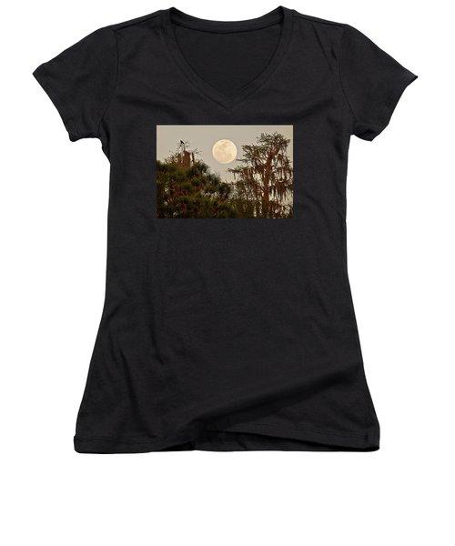 Moonrise Over Southern Pines Women's V-Neck