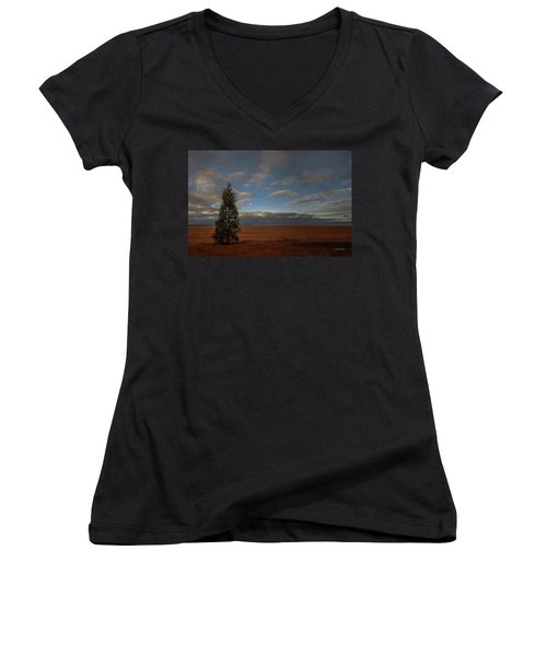 Moonset  In A Large Morning Sky Women's V-Neck (Athletic Fit)