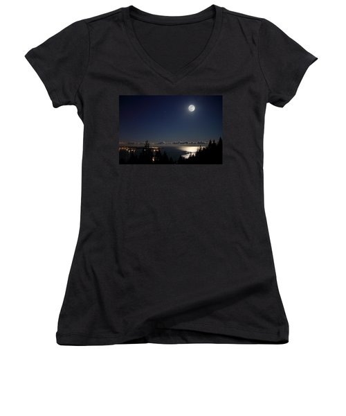 Moonshine Over English Bay Women's V-Neck