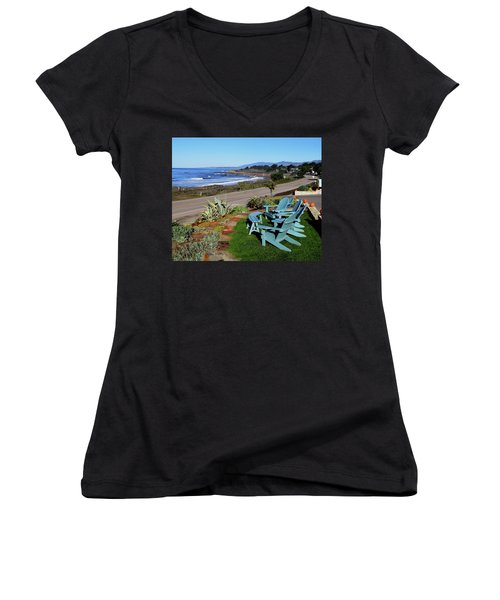 Women's V-Neck T-Shirt (Junior Cut) featuring the photograph Moonstone Beach Seat With A View by Barbara Snyder