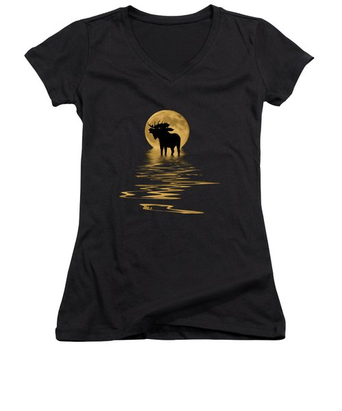 Moose In The Moonlight Women's V-Neck T-Shirt (Junior Cut) by Shane Bechler