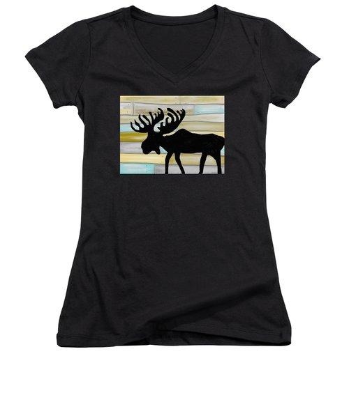 Women's V-Neck T-Shirt (Junior Cut) featuring the digital art Moose by Paula Brown