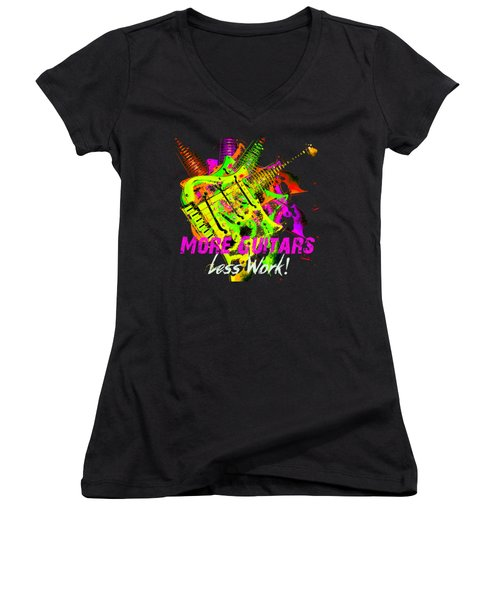 Women's V-Neck (Athletic Fit) featuring the photograph More Guitars  by Guitar Wacky
