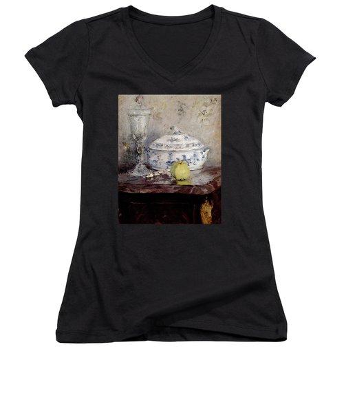 Morisot Berthe Tureen And Apple Women's V-Neck T-Shirt (Junior Cut) by Berthe Morisot