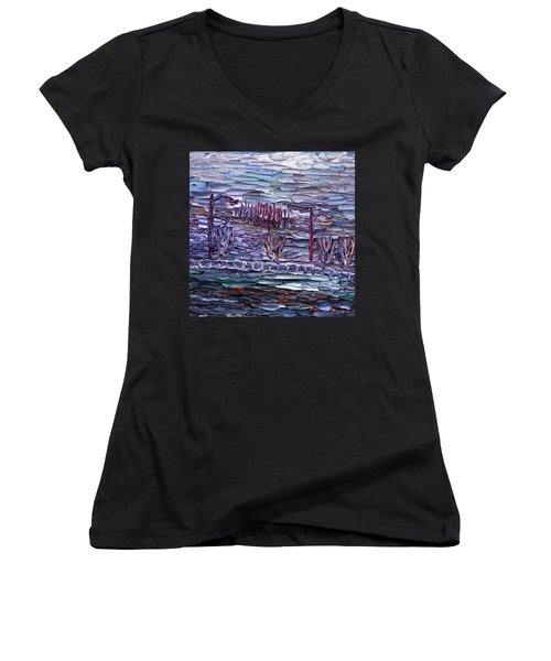Morning At Sayreville Women's V-Neck T-Shirt (Junior Cut) by Vadim Levin