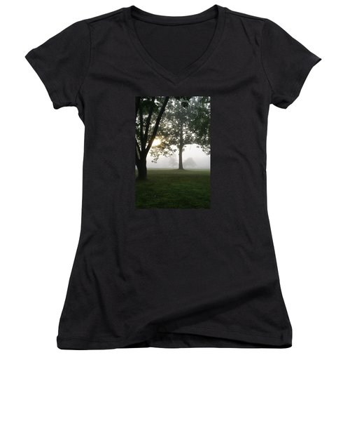 Women's V-Neck T-Shirt (Junior Cut) featuring the photograph Morning Fog by Heidi Poulin
