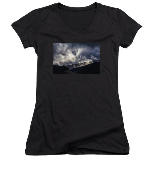 Morning Fog,mist And Cloud On The Moutain By The Sea In Californ Women's V-Neck T-Shirt (Junior Cut) by Jingjits Photography