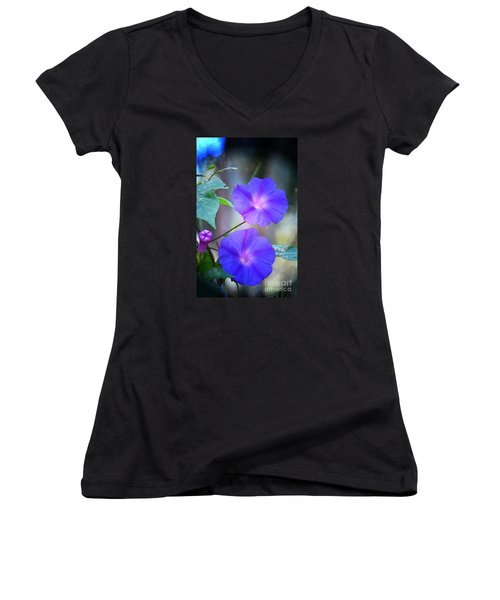 Morning Glory Women's V-Neck T-Shirt (Junior Cut) by Kathy Baccari