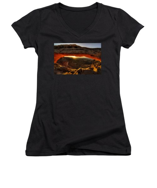 Morning Glow At Mesa Arch Women's V-Neck