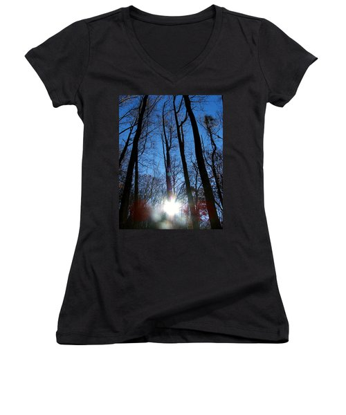Morning In The Mountains Women's V-Neck T-Shirt (Junior Cut) by Robert Meanor