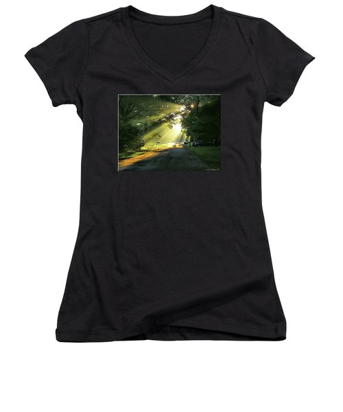 Women's V-Neck T-Shirt (Junior Cut) featuring the photograph Morning Light by Brian Wallace