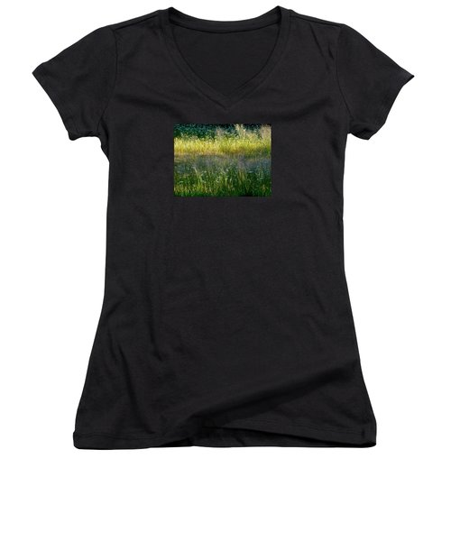 Morning Light On Grant Meadow Women's V-Neck T-Shirt (Junior Cut) by Amelia Racca