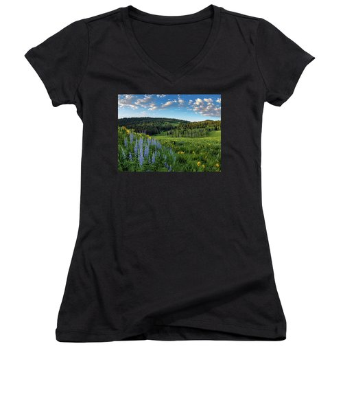 Morning Meadow Women's V-Neck (Athletic Fit)