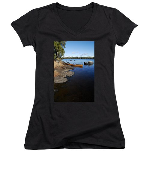 Morning On Hope Lake Women's V-Neck T-Shirt (Junior Cut) by Larry Ricker