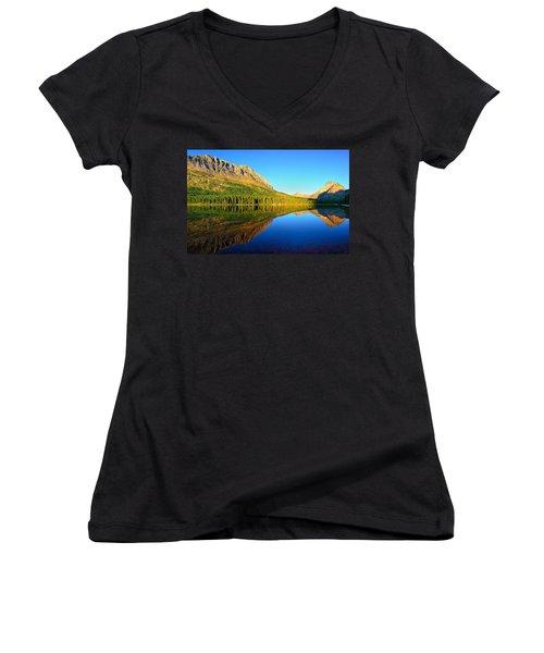 Morning Reflections At Fishercap Lake Women's V-Neck T-Shirt (Junior Cut) by Greg Norrell