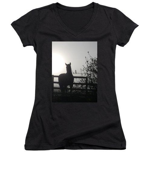 Morning Silhouette #1 Women's V-Neck (Athletic Fit)