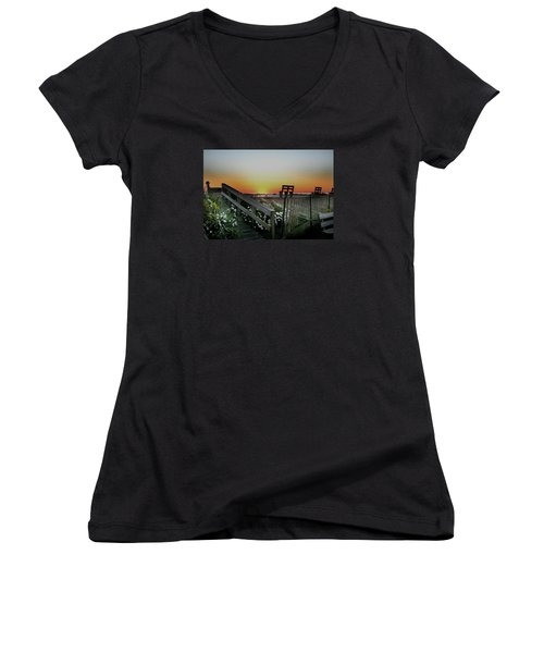 Morning View  Women's V-Neck T-Shirt (Junior Cut) by Skip Willits